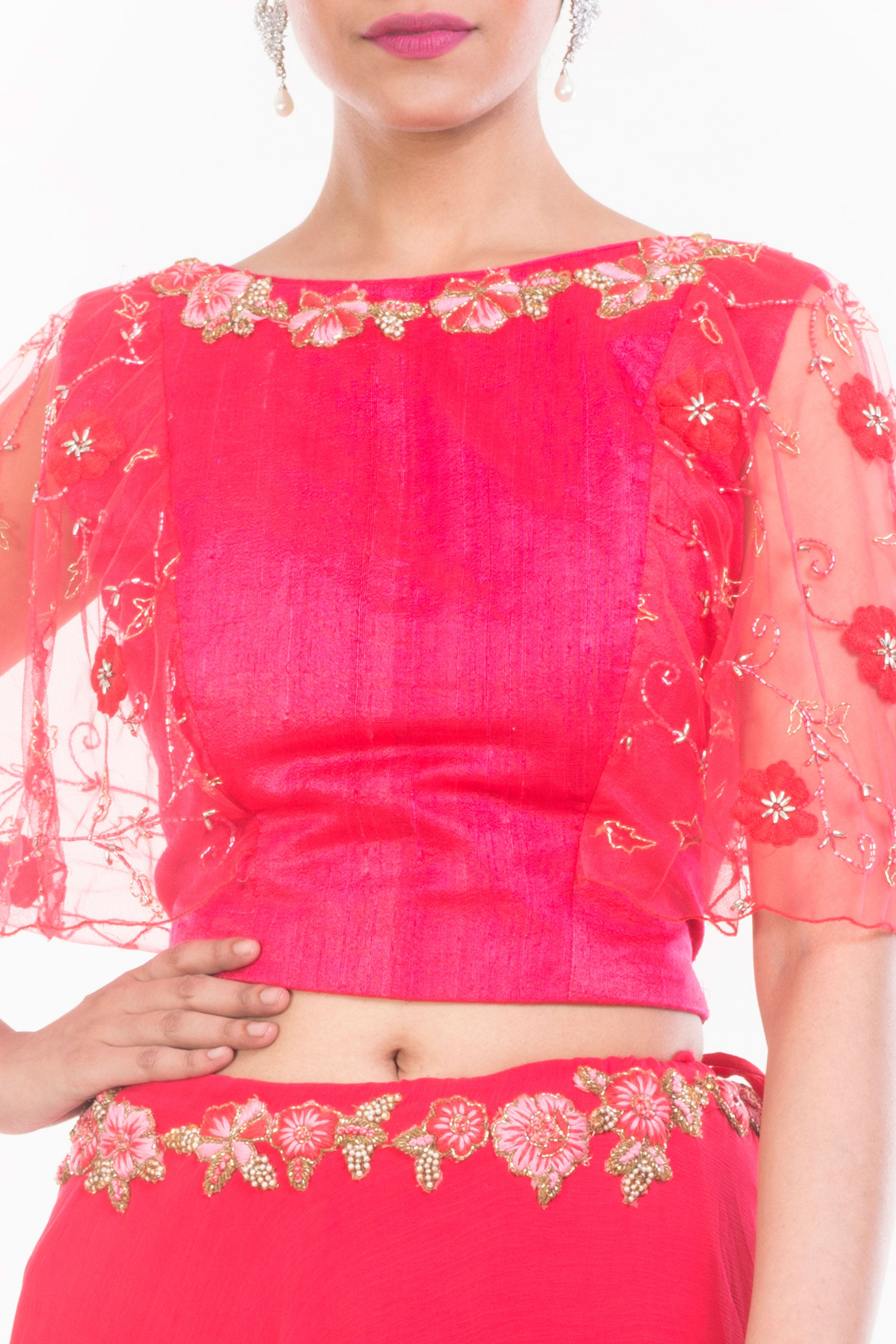 Tomato Red Crop Top Skirt Set Closeup