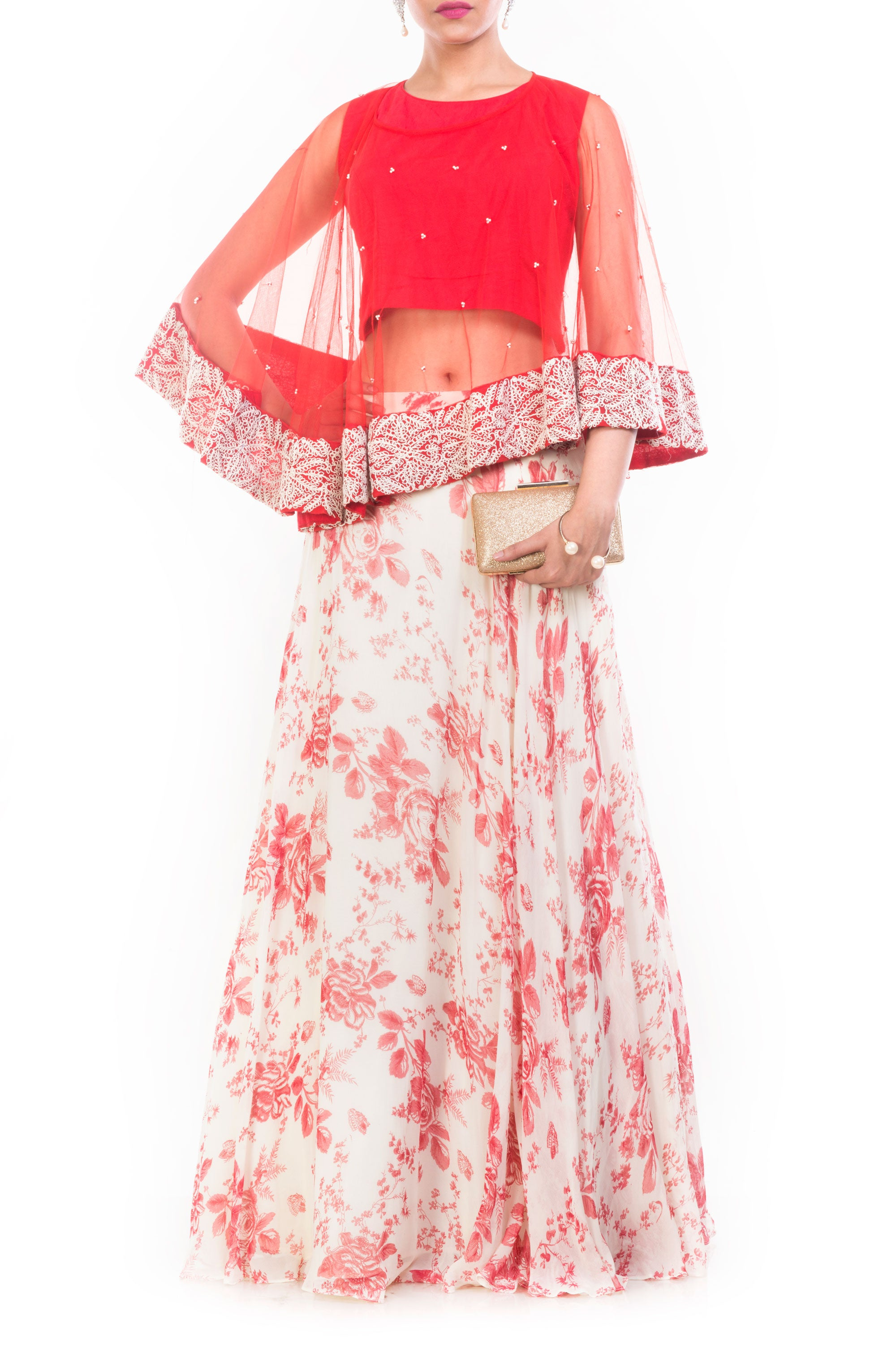 Rose Printed Skirt & Cape Set Front