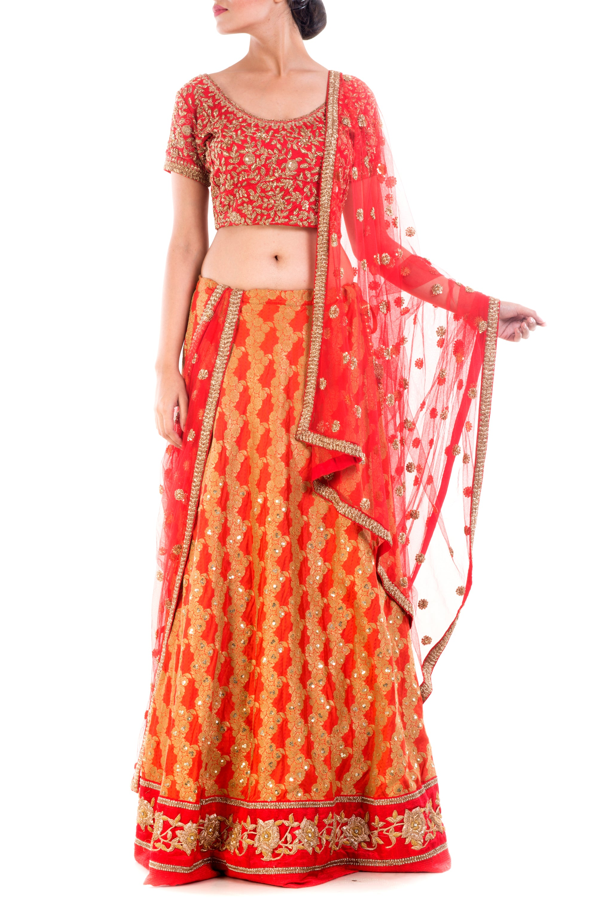 Crimson Red Gold Embellished Bridal Lehenga Front