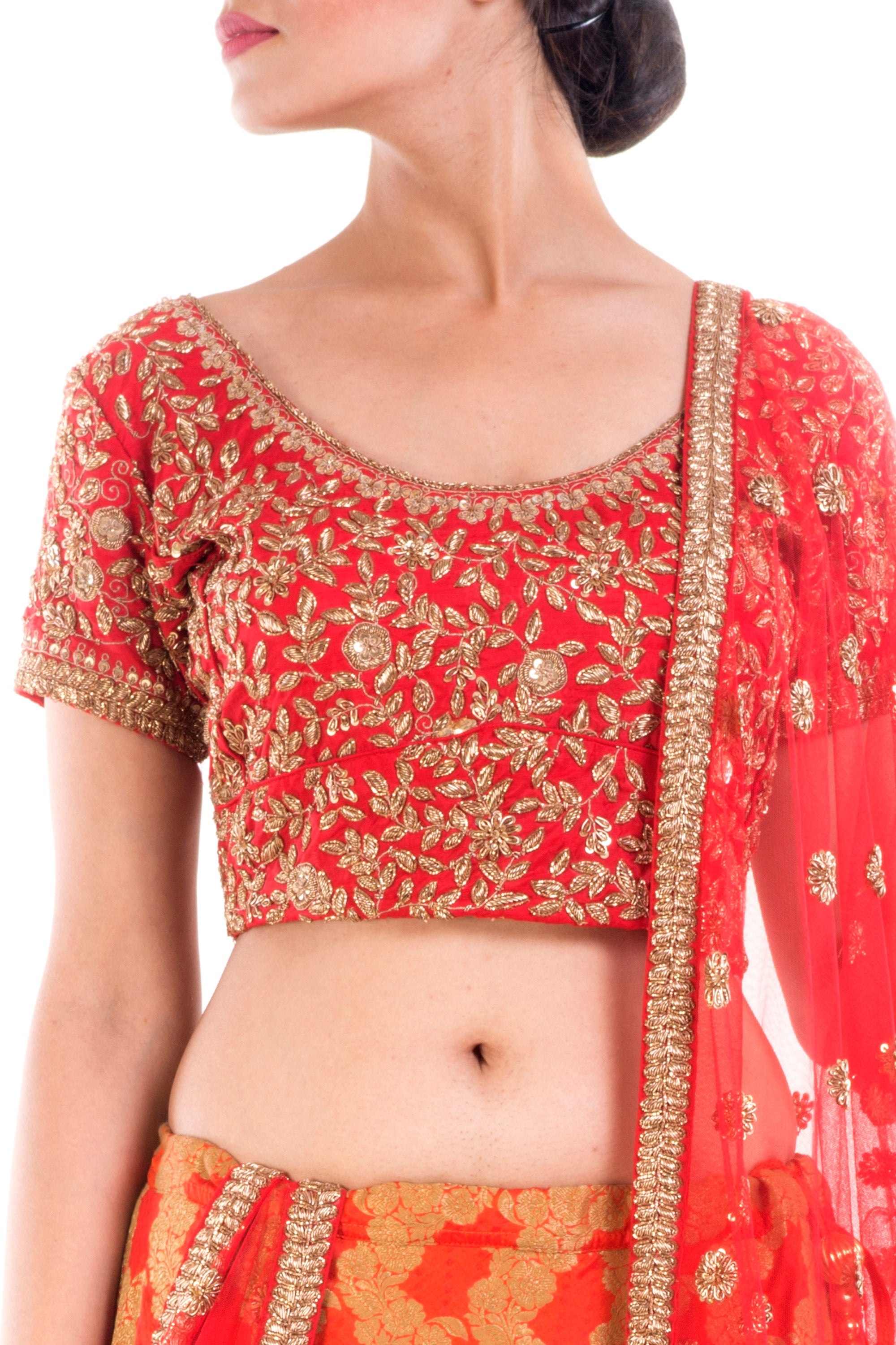 Crimson Red Gold Embellished Bridal Lehenga Closeup