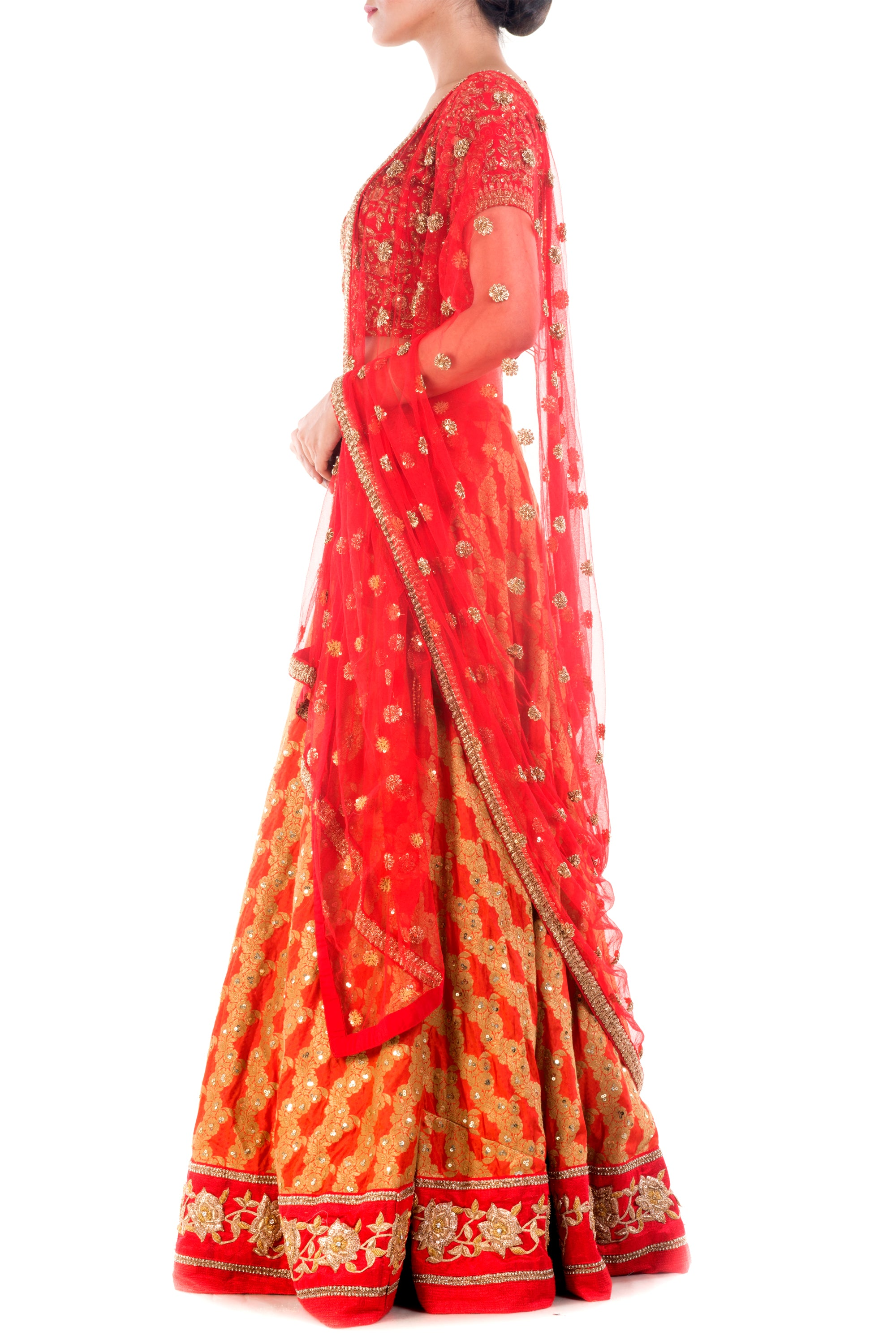 Crimson Red Gold Embellished Bridal Lehenga Side