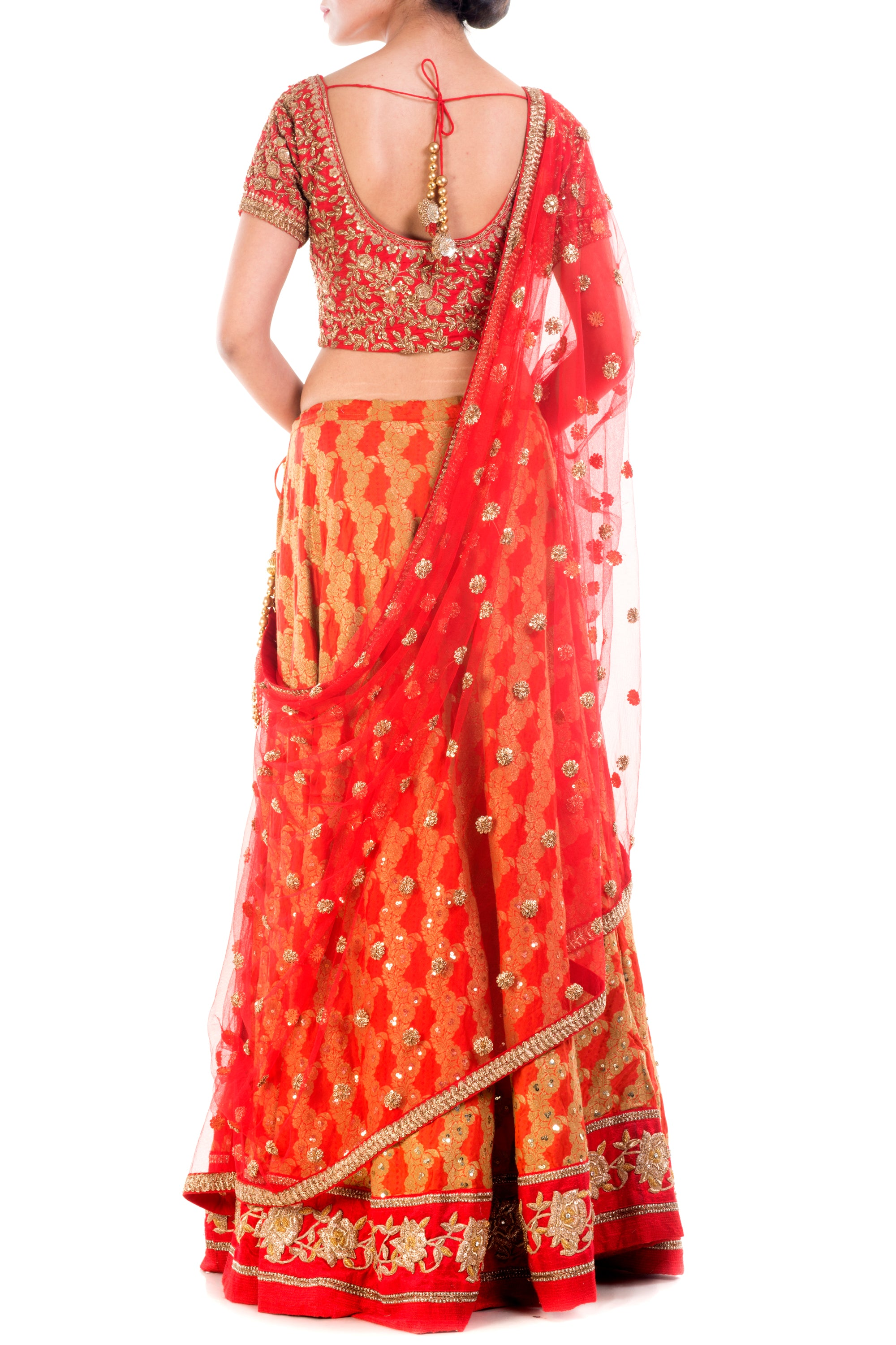 Crimson Red Gold Embellished Bridal Lehenga Back