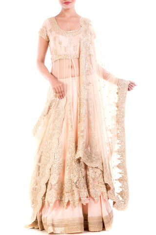 Golden Beige Embroidery Long Jacket Lehenga Set Front
