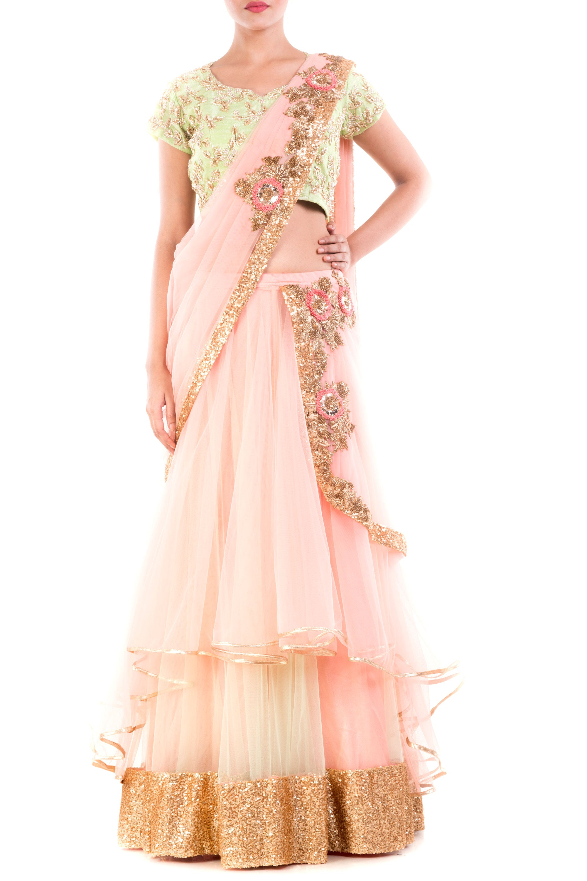 Custard Cream Draped Lehenga Front