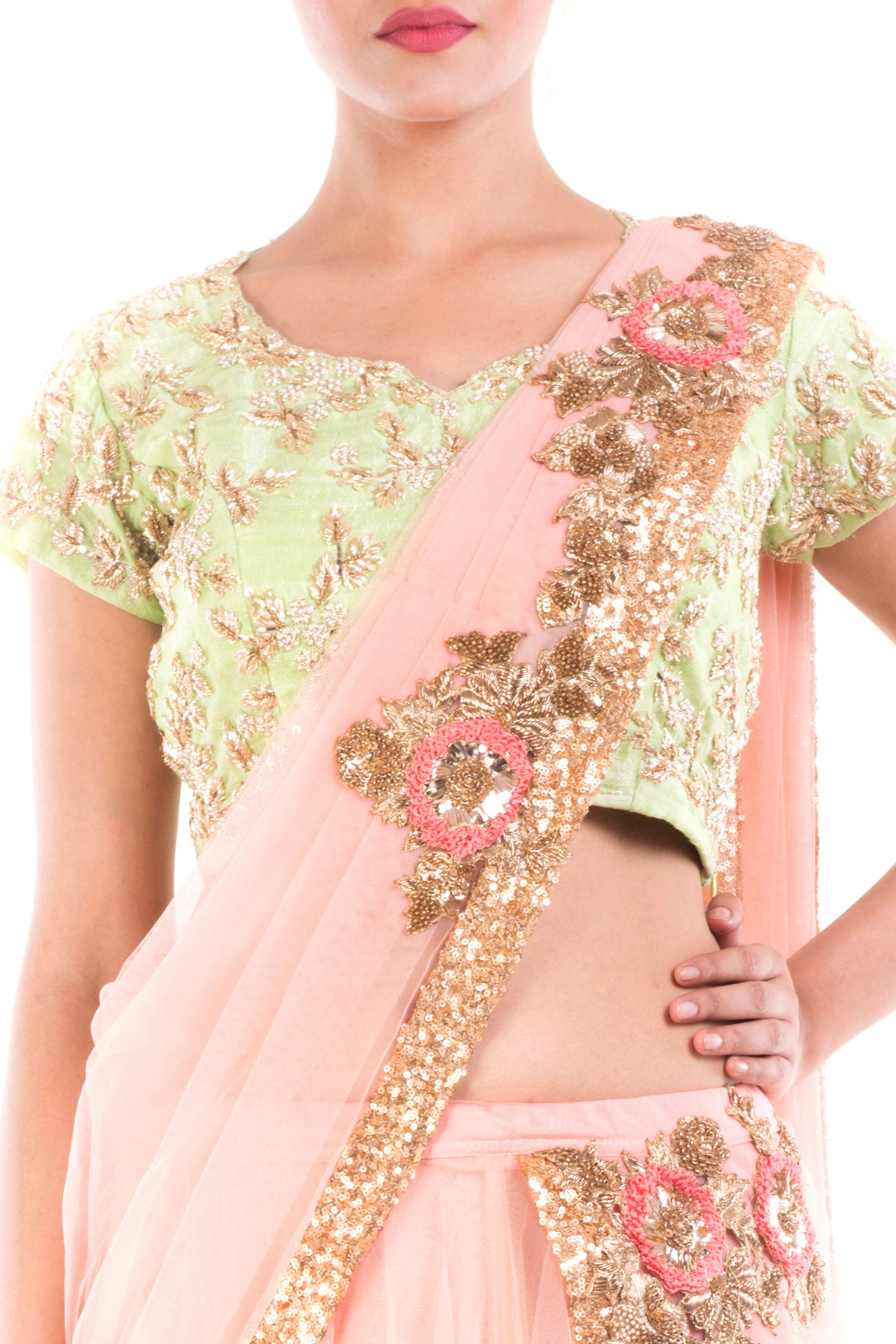 Custard Cream Draped Lehenga Closeup