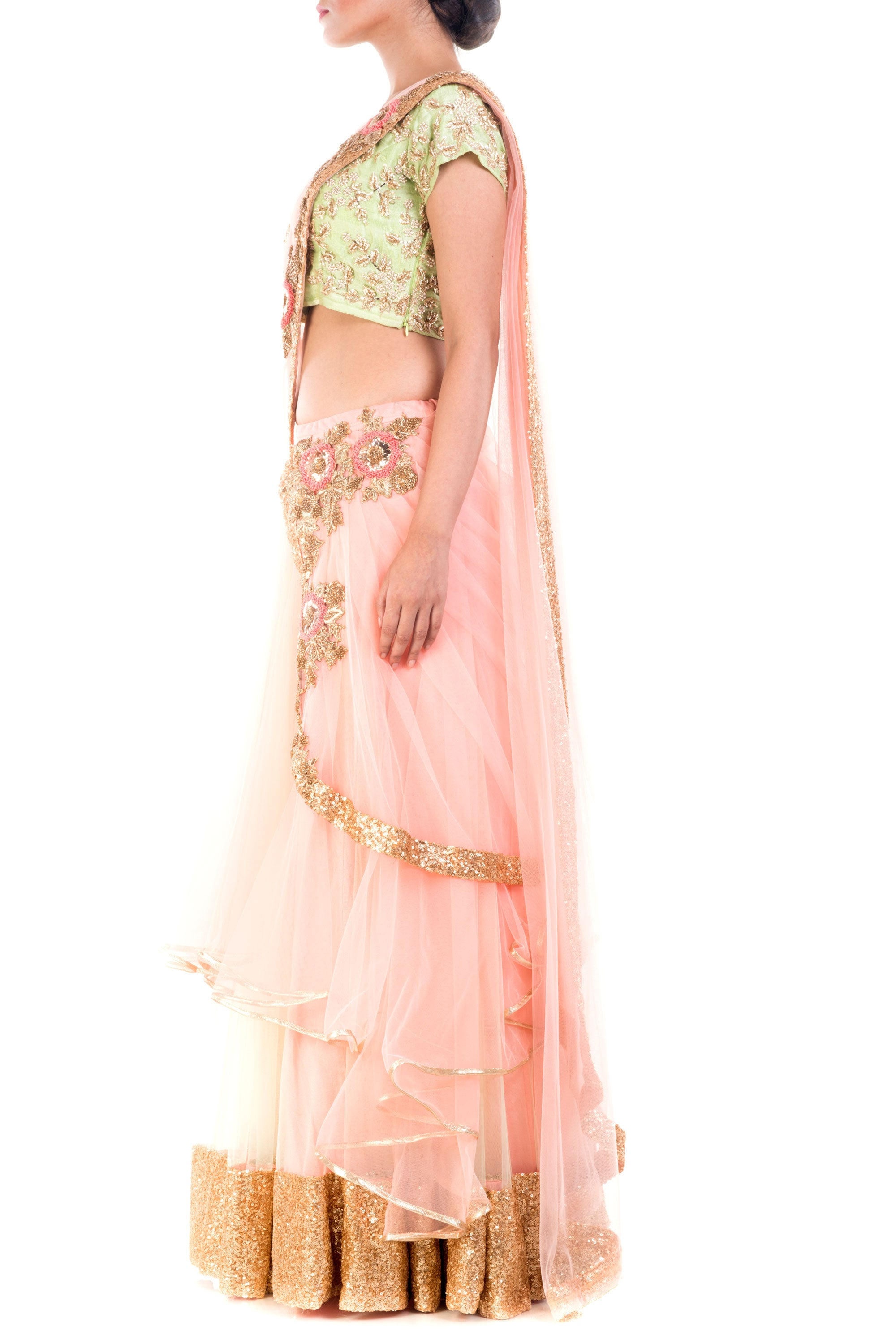 Custard Cream Draped Lehenga Side