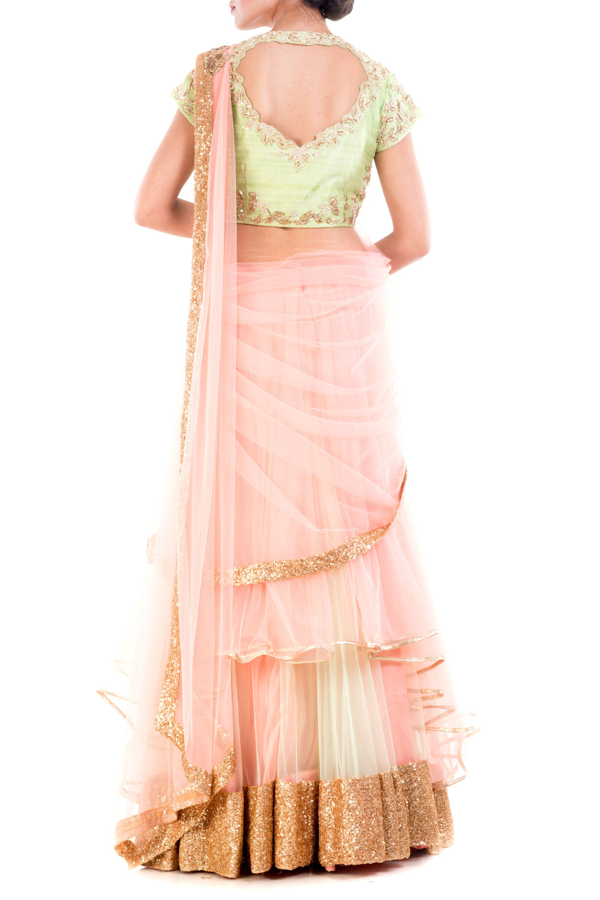 Custard Cream Draped Lehenga Back