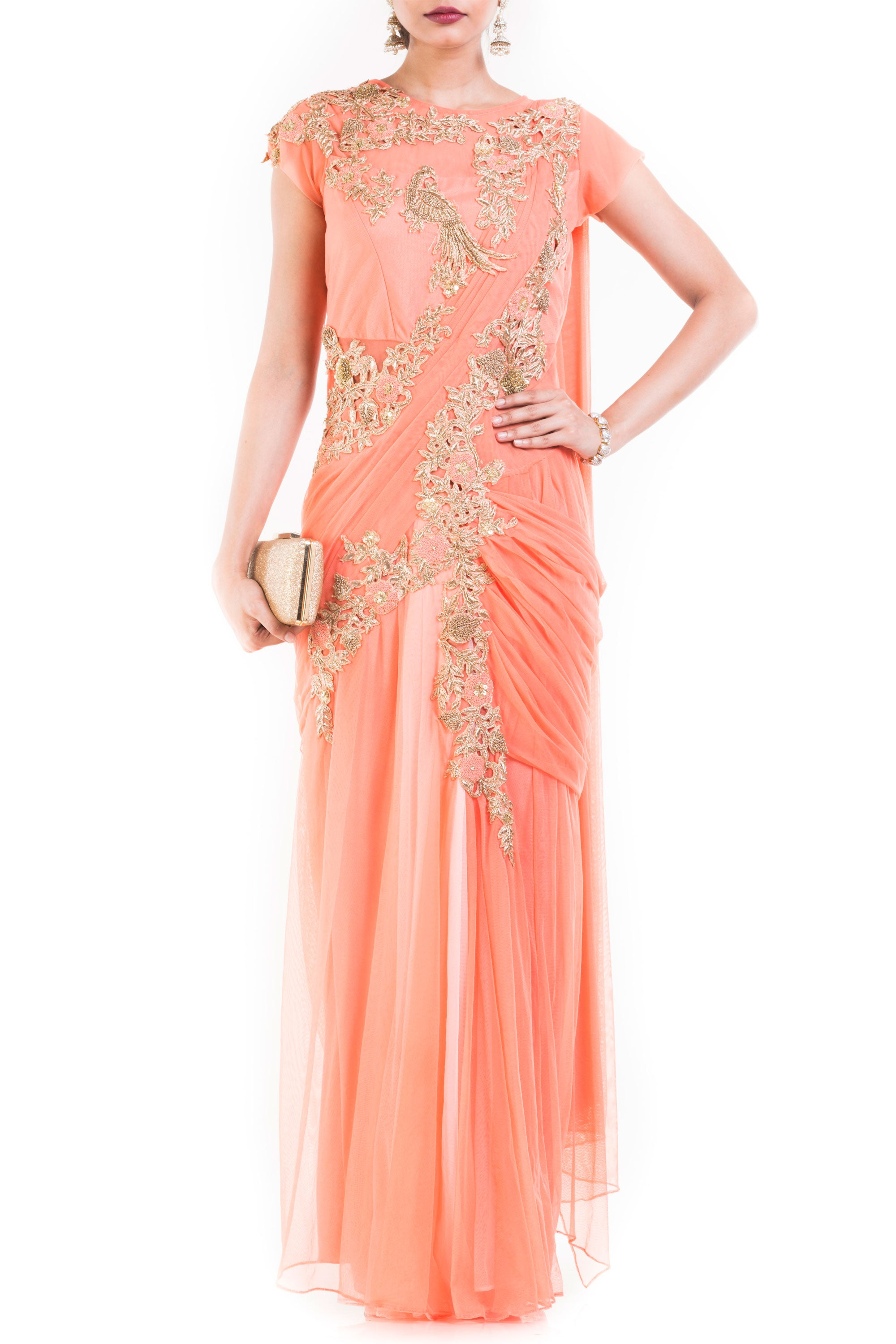 Light Orange Drape Gown Saree Front
