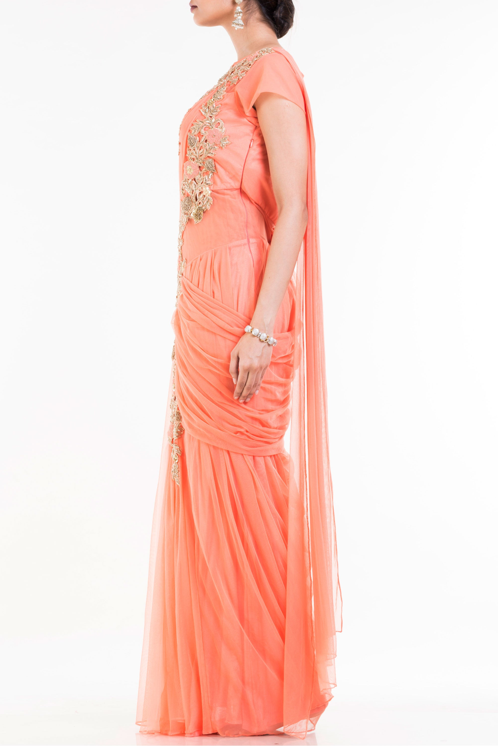 Light Orange Drape Gown Saree Side