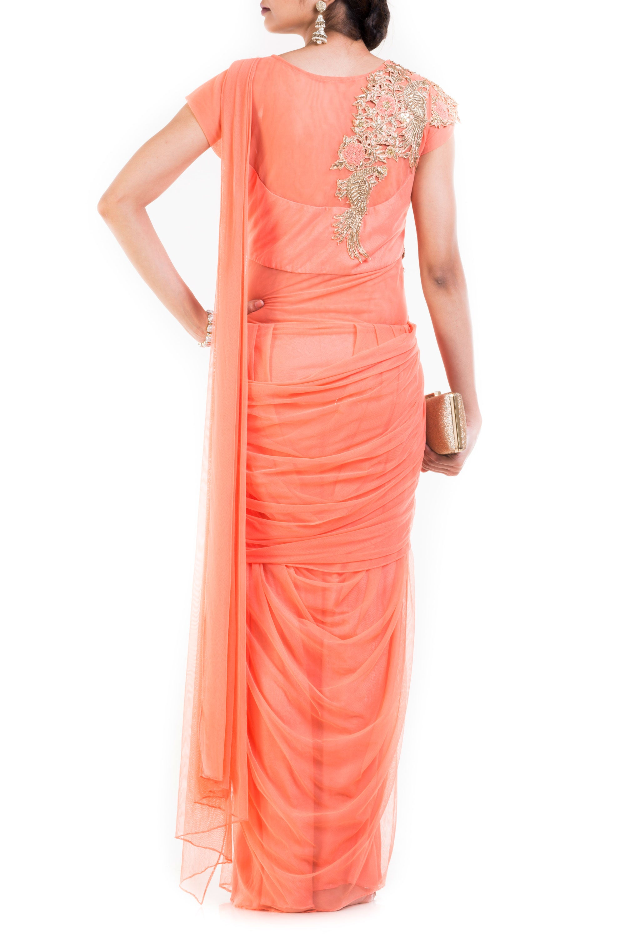 Light Orange Drape Gown Saree Back