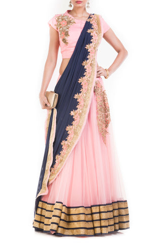 Pink And Blue Drape Lehenga With Attached Dupatta Front