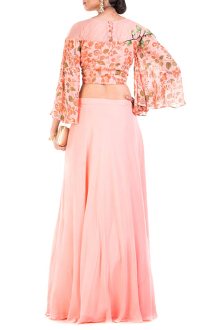 Blush Pink Printed Crop Top & Skirt