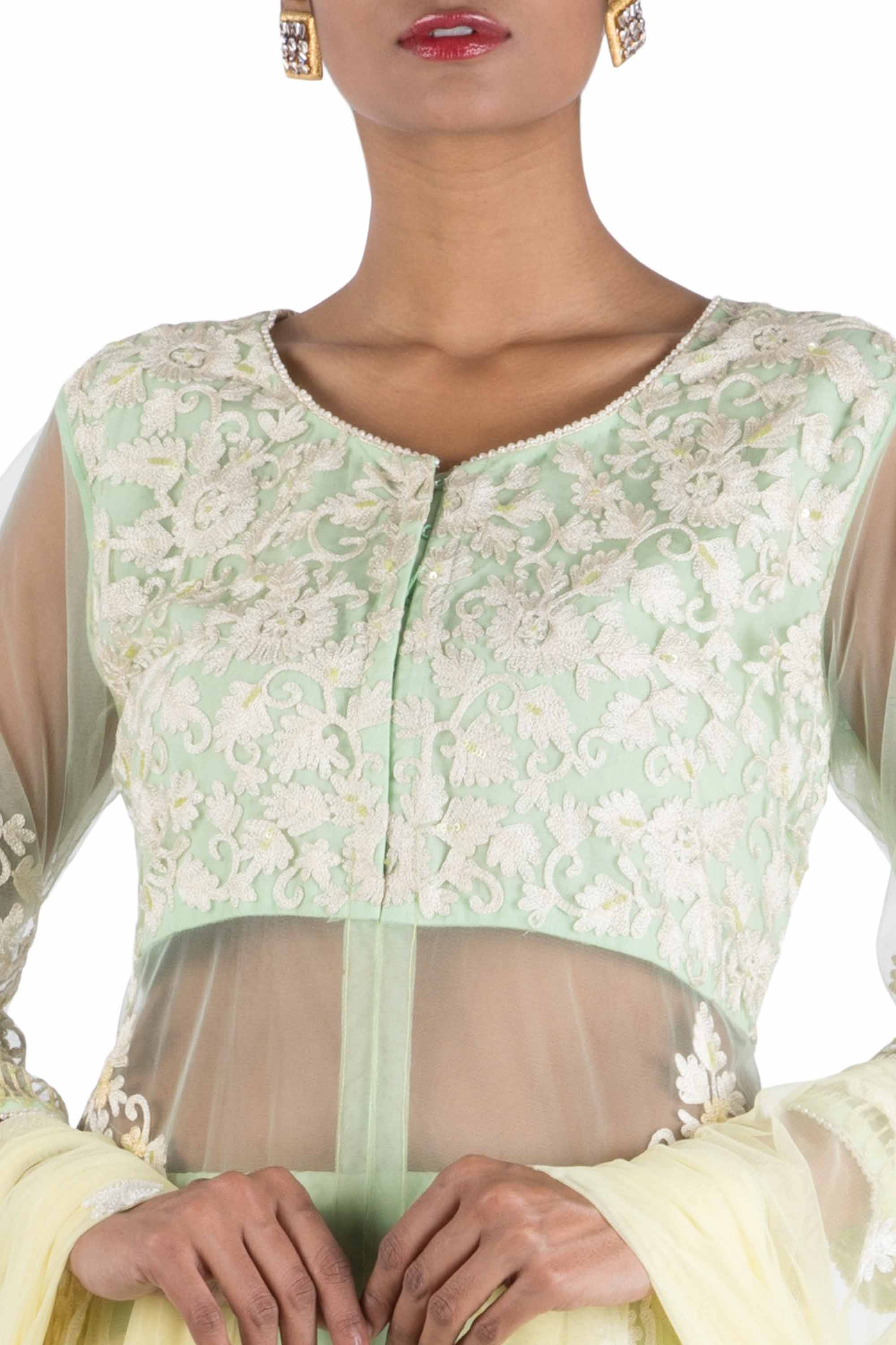 Pastel Green Sheer Jacket Lehenga Set CloseUp