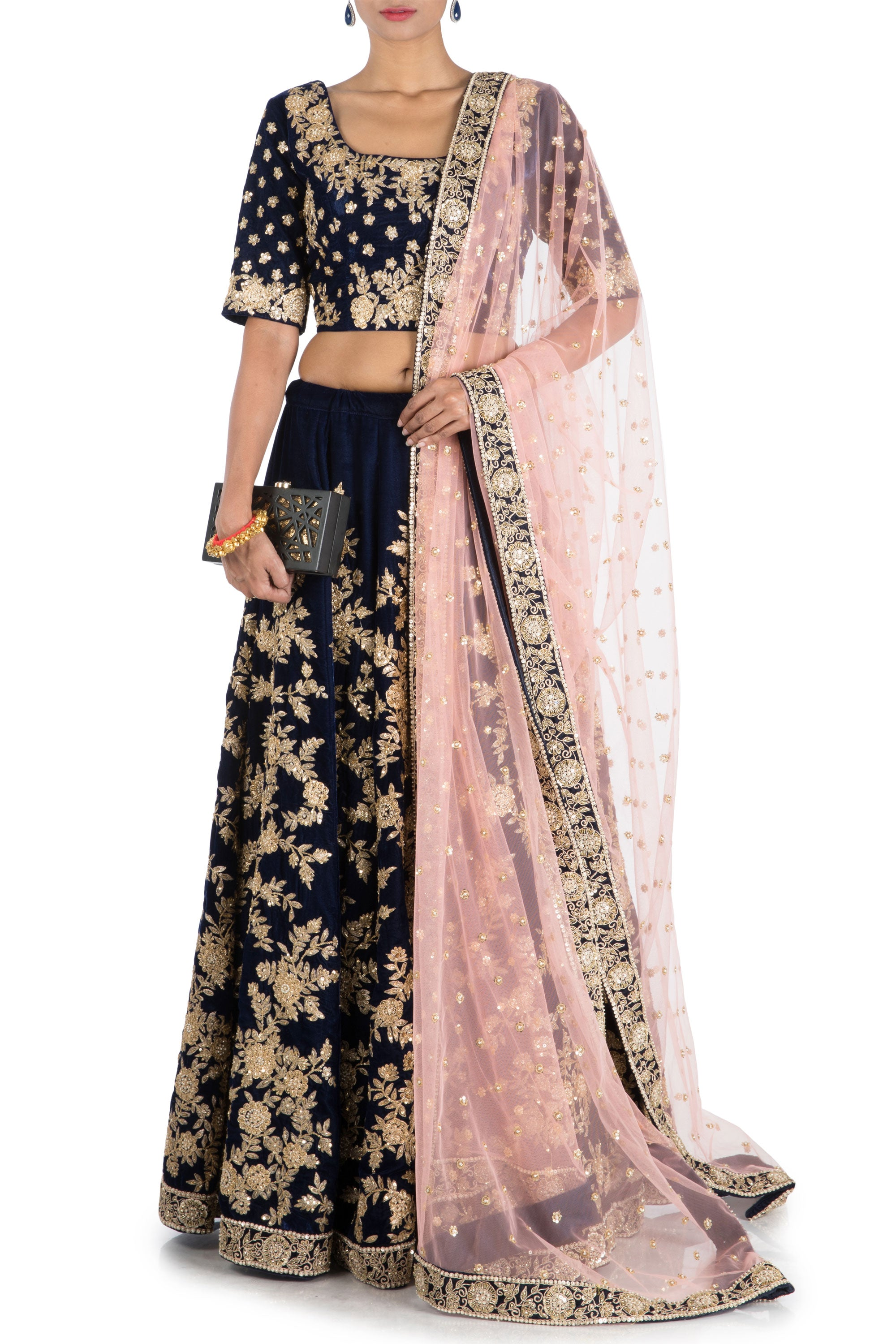 Dark Indigo Royal Lehenga Set Front