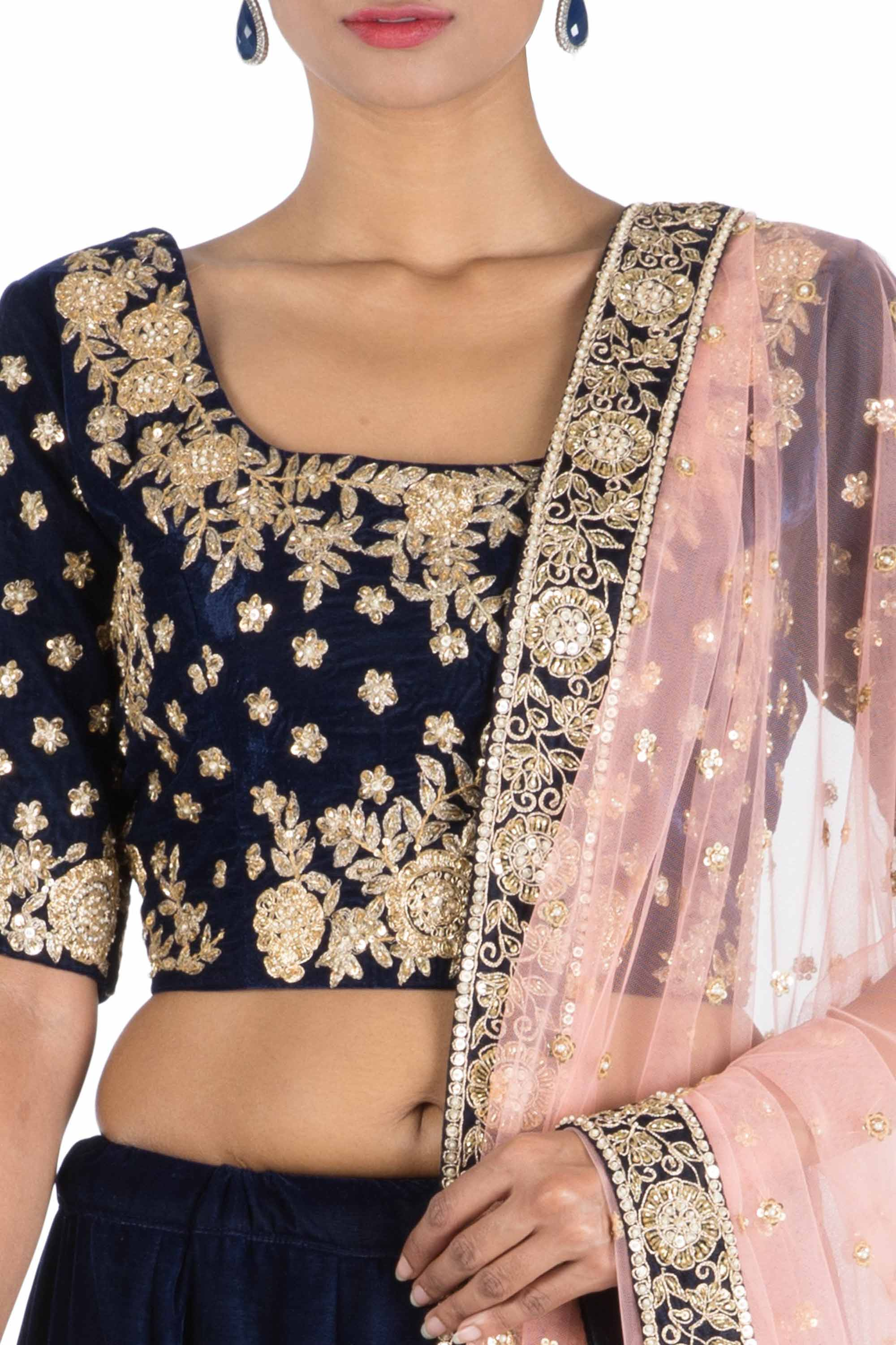 Dark Indigo Royal Lehenga Set Closeup