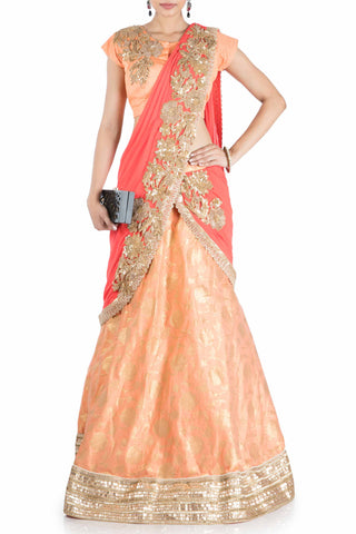 Pastel Orange & Tomato Red Lehenga Saree With Attached Pallu Front