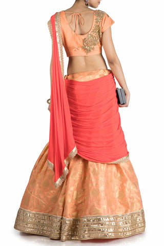 Pastel Orange & Tomato Red Lehenga Saree With Attached Pallu