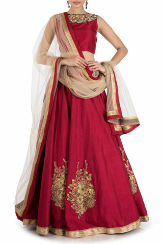 Ruby Sleeveless Lehenga Set Front