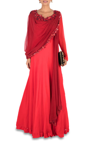 Hand Embroidered Crimson Red Flare Gown With Attached Dupatta Front