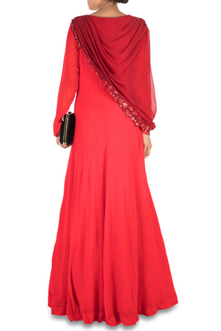 Hand Embroidered Crimson Red Flare Gown With Attached Dupatta