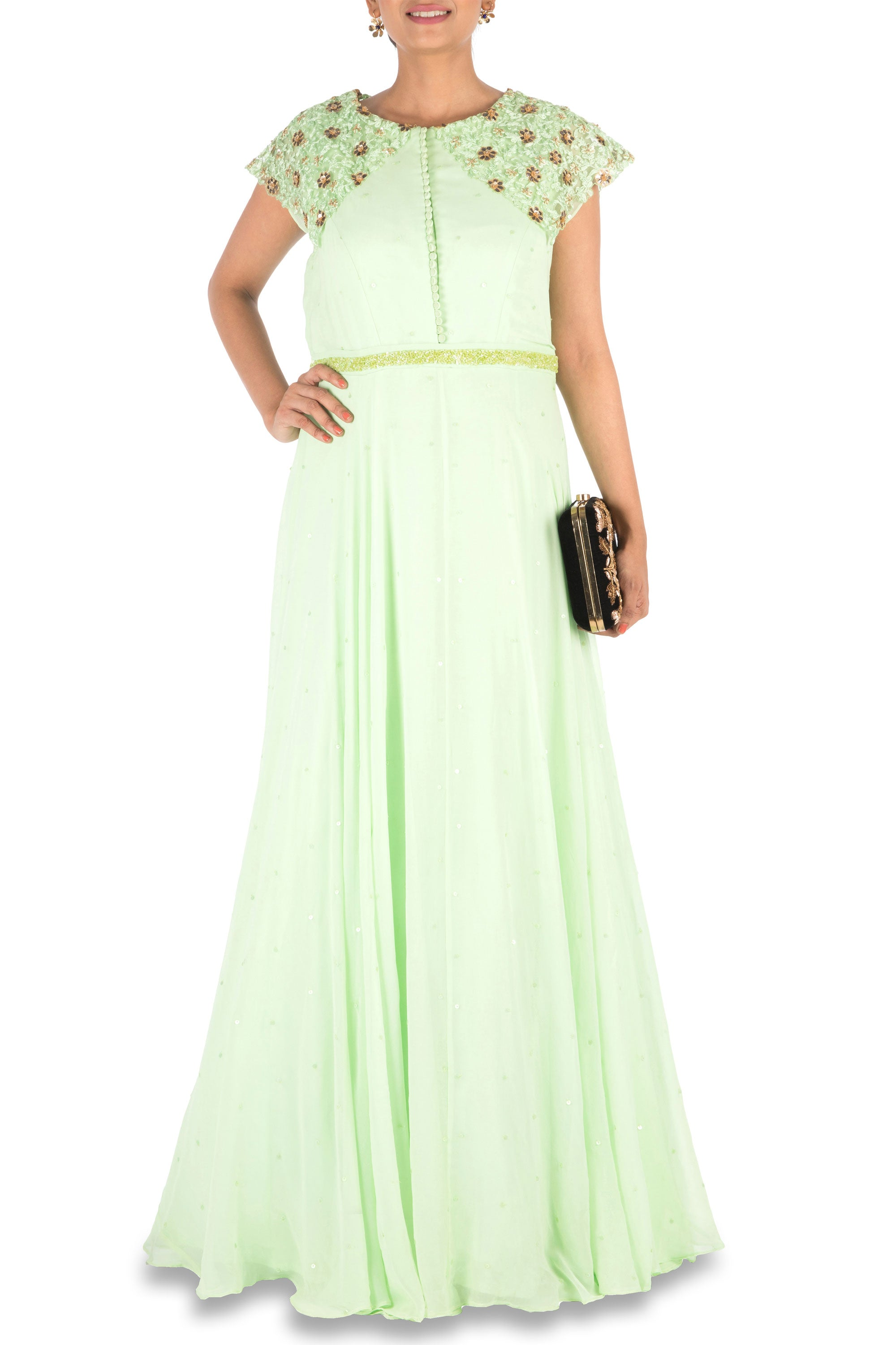 Hand Embroidered Mint Green Gown Front