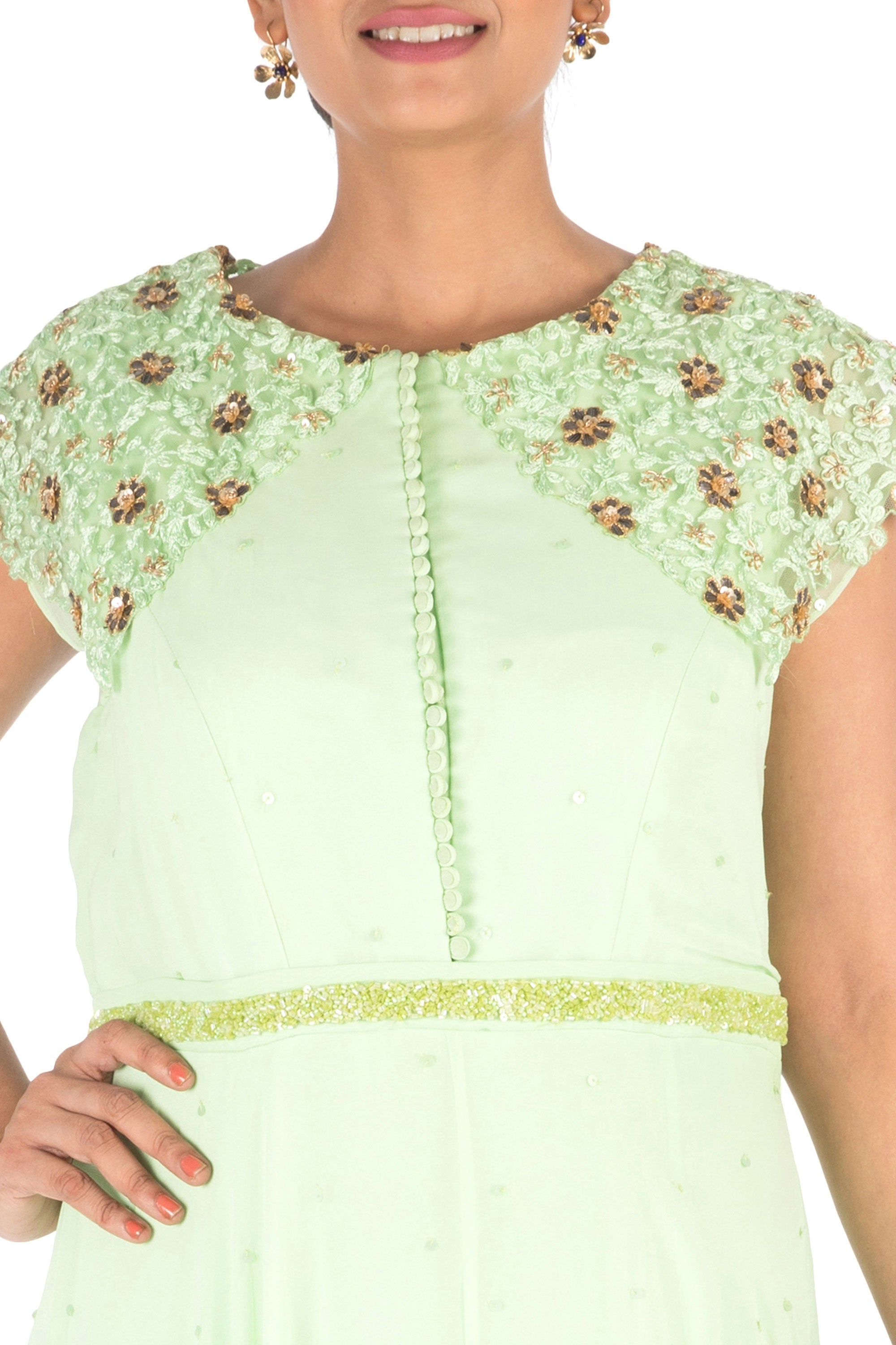 Hand Embroidered Mint Green Gown Closeup