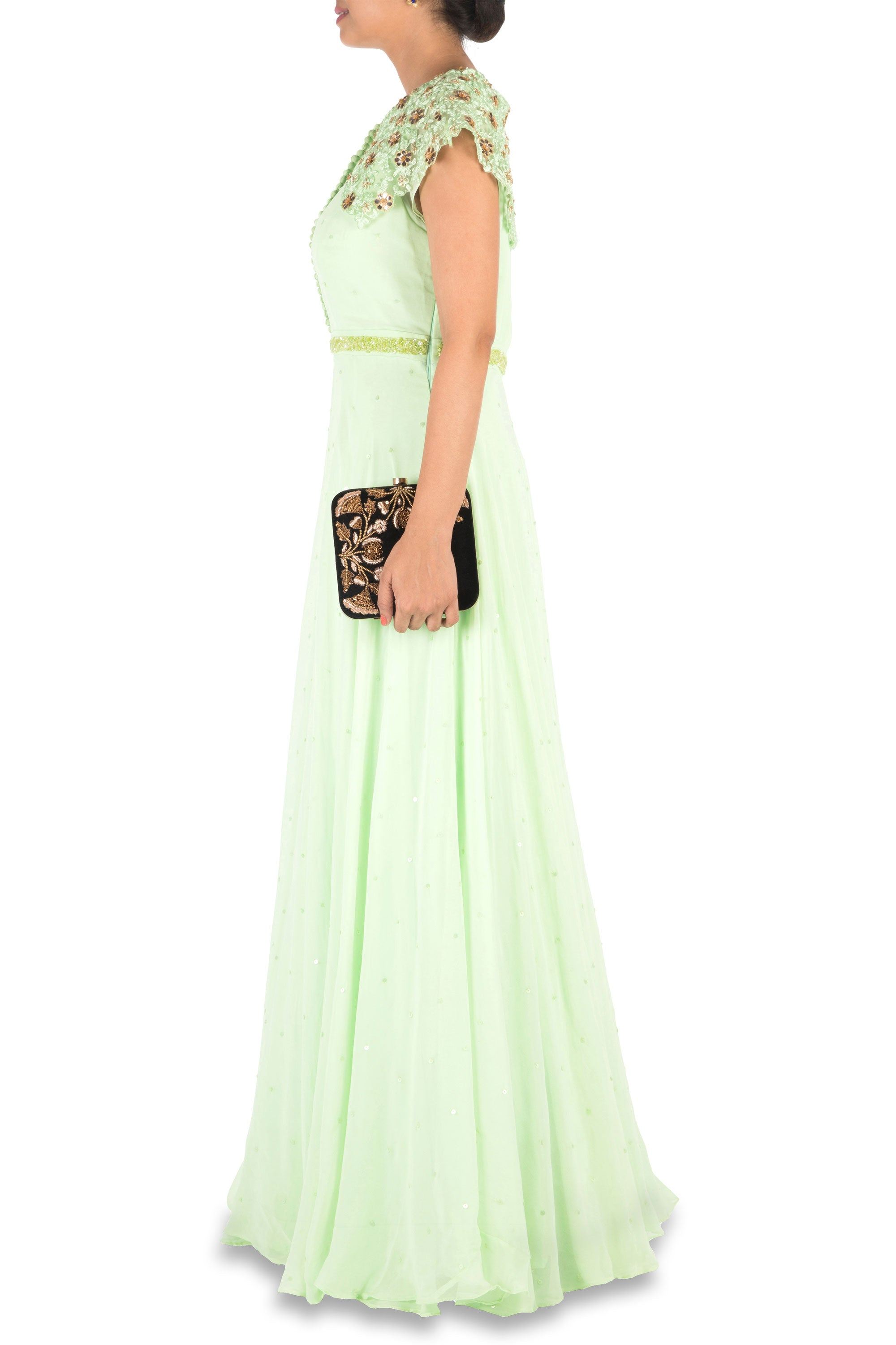 Hand Embroidered Mint Green Gown Side