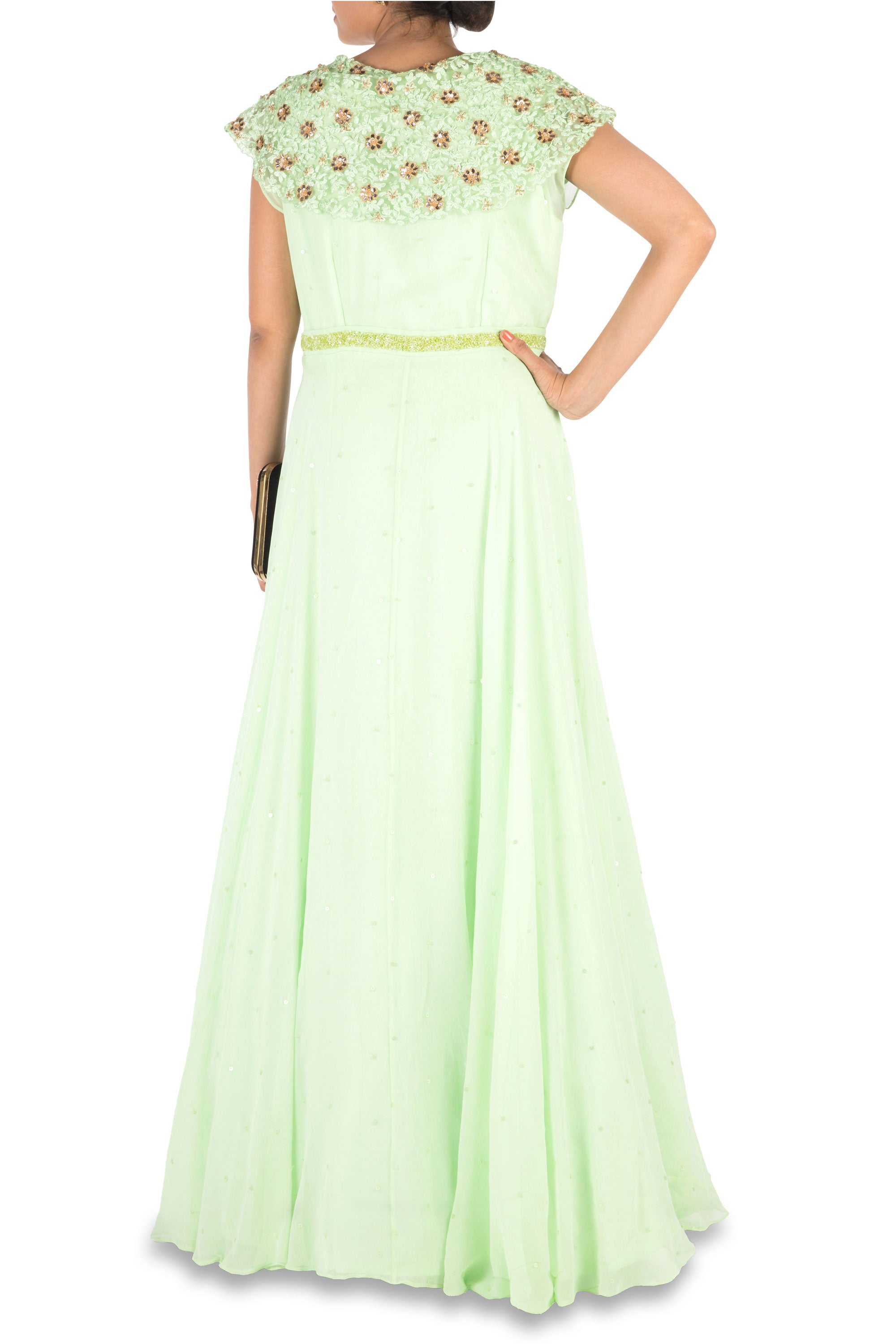 Hand Embroidered Mint Green Gown Back