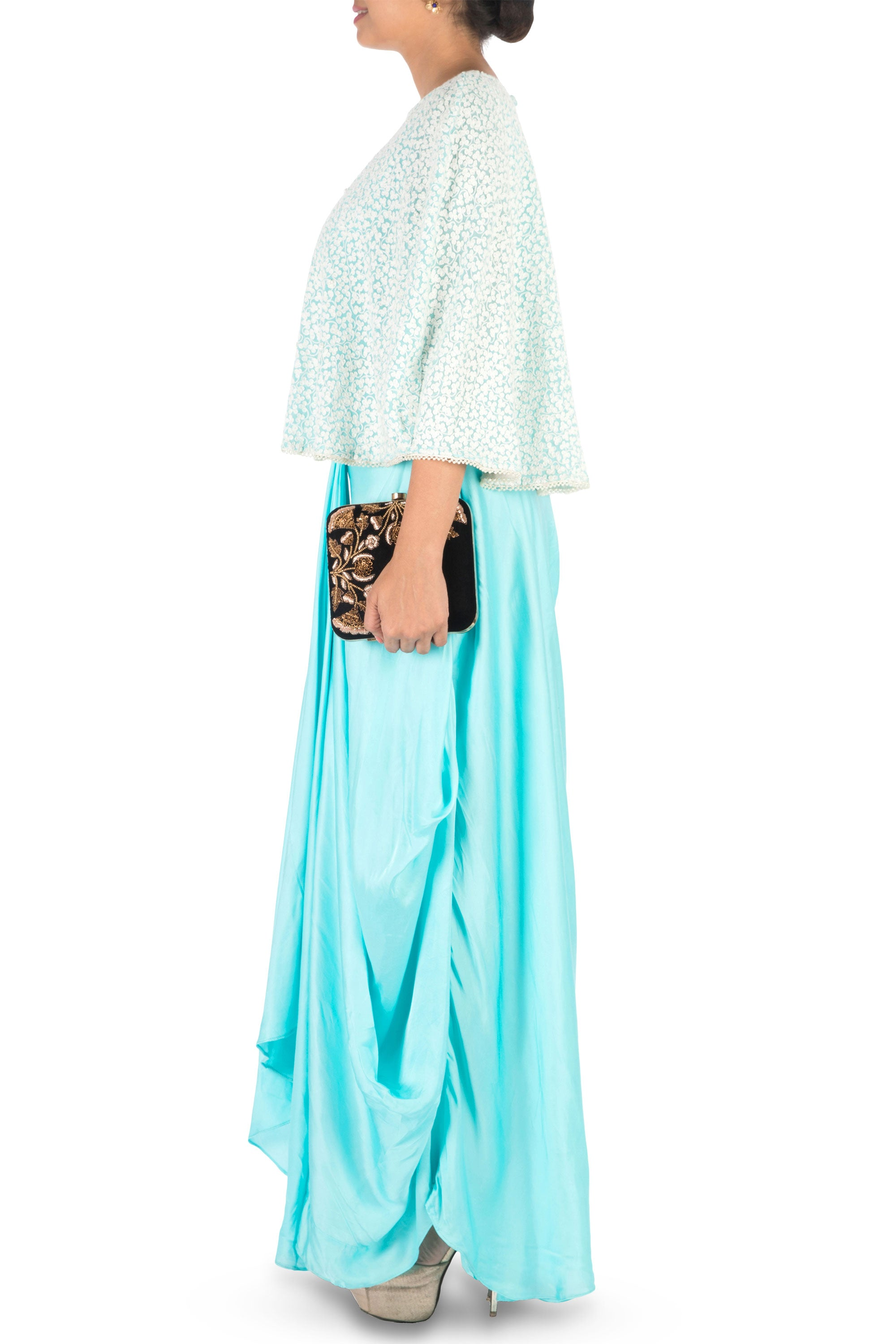 Hand Embroidered Sky Blue Drape Skirt & Cape Set Side