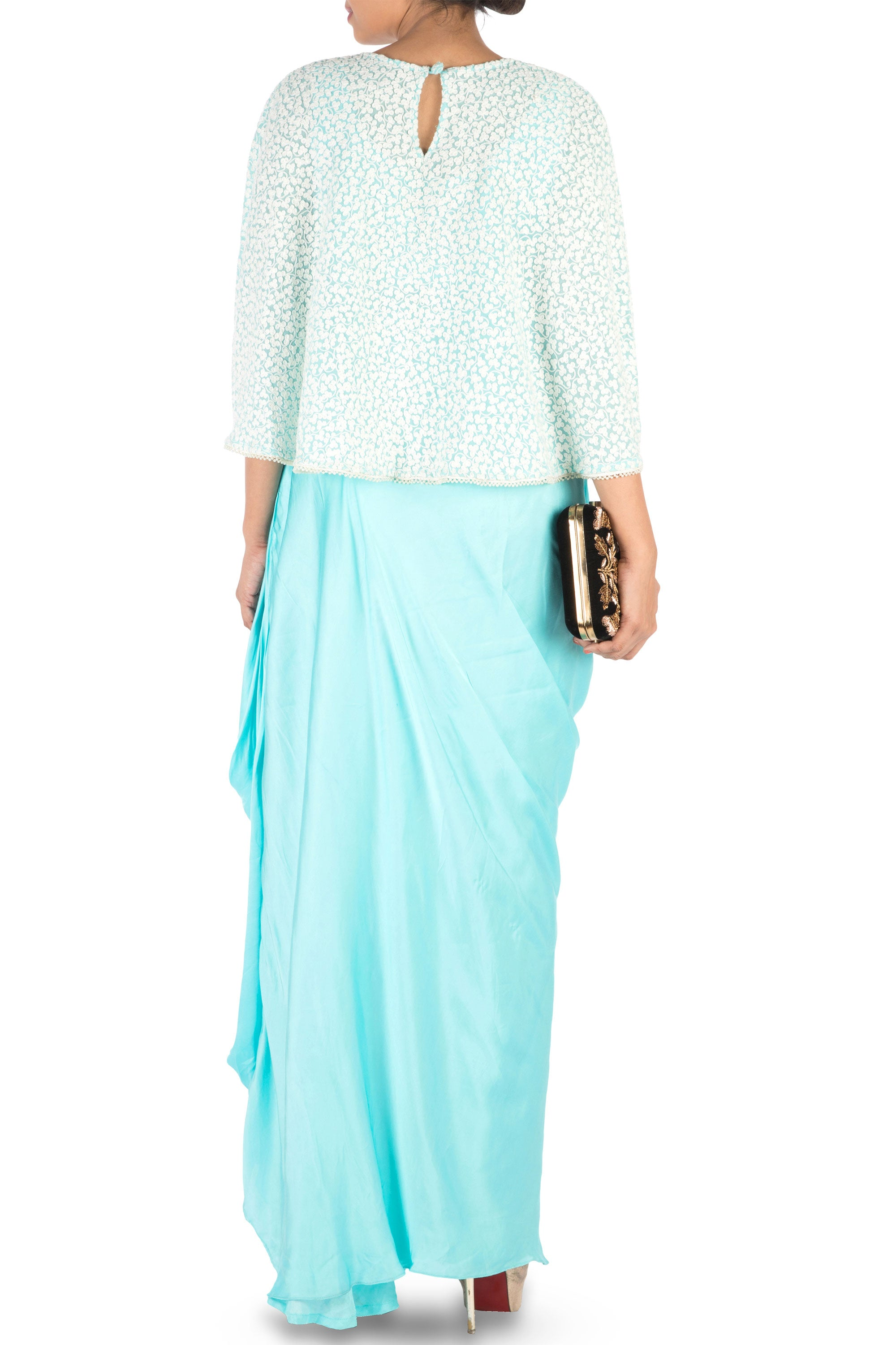 Hand Embroidered Sky Blue Drape Skirt & Cape Set Back