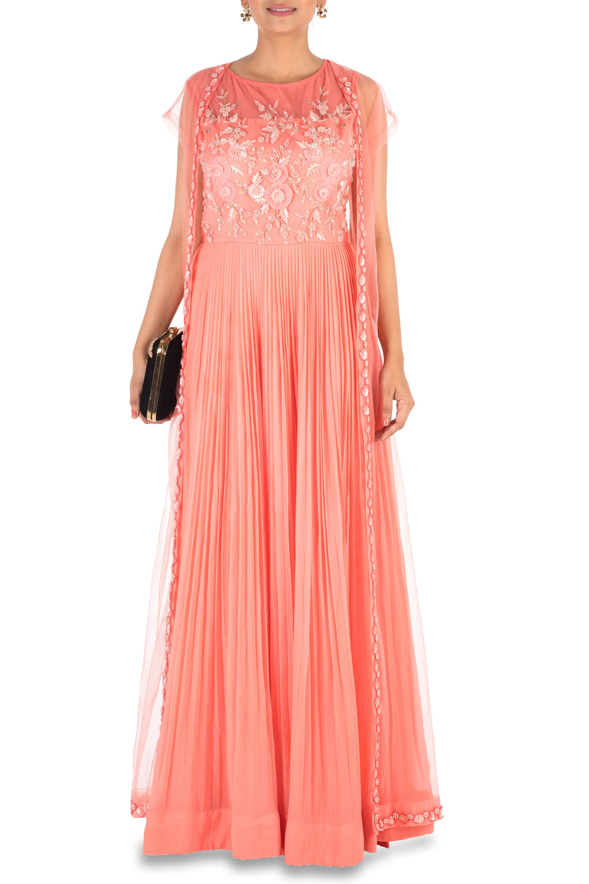 Hand Embroidered Coral Mirco Pleated Flare Gown With Jacket Front