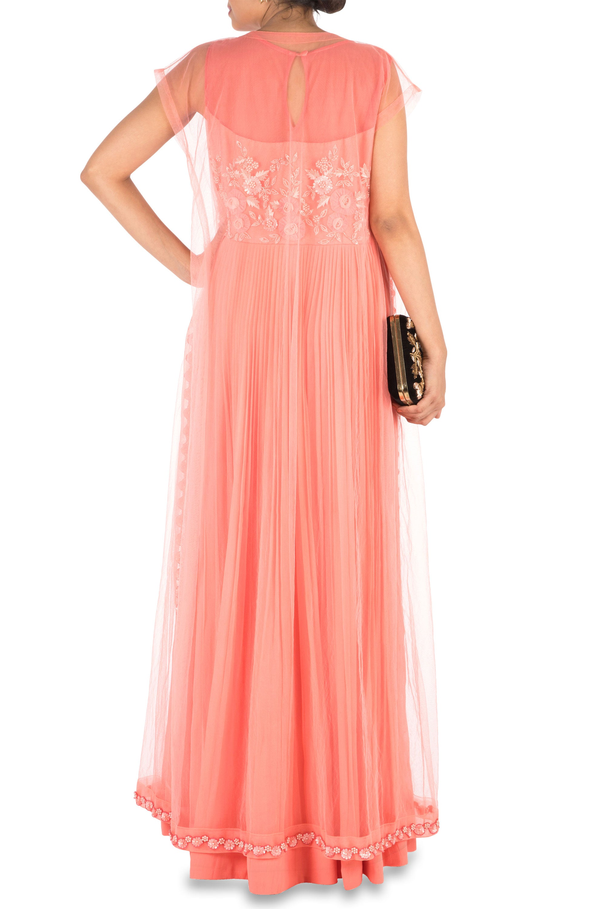 Hand Embroidered Coral Mirco Pleated Flare Gown With Jacket Back