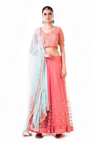 Embroidered Peach Net Lehenga Set Front