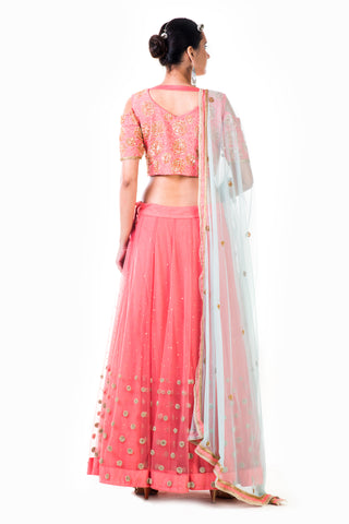 Embroidered Peach Net Lehenga Set
