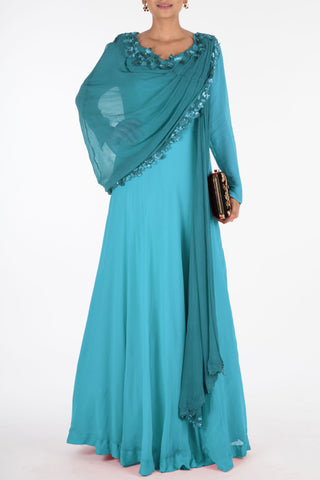 Hand Embroidered Cerulean Blue Flare Gown With Attached Dupatta Front