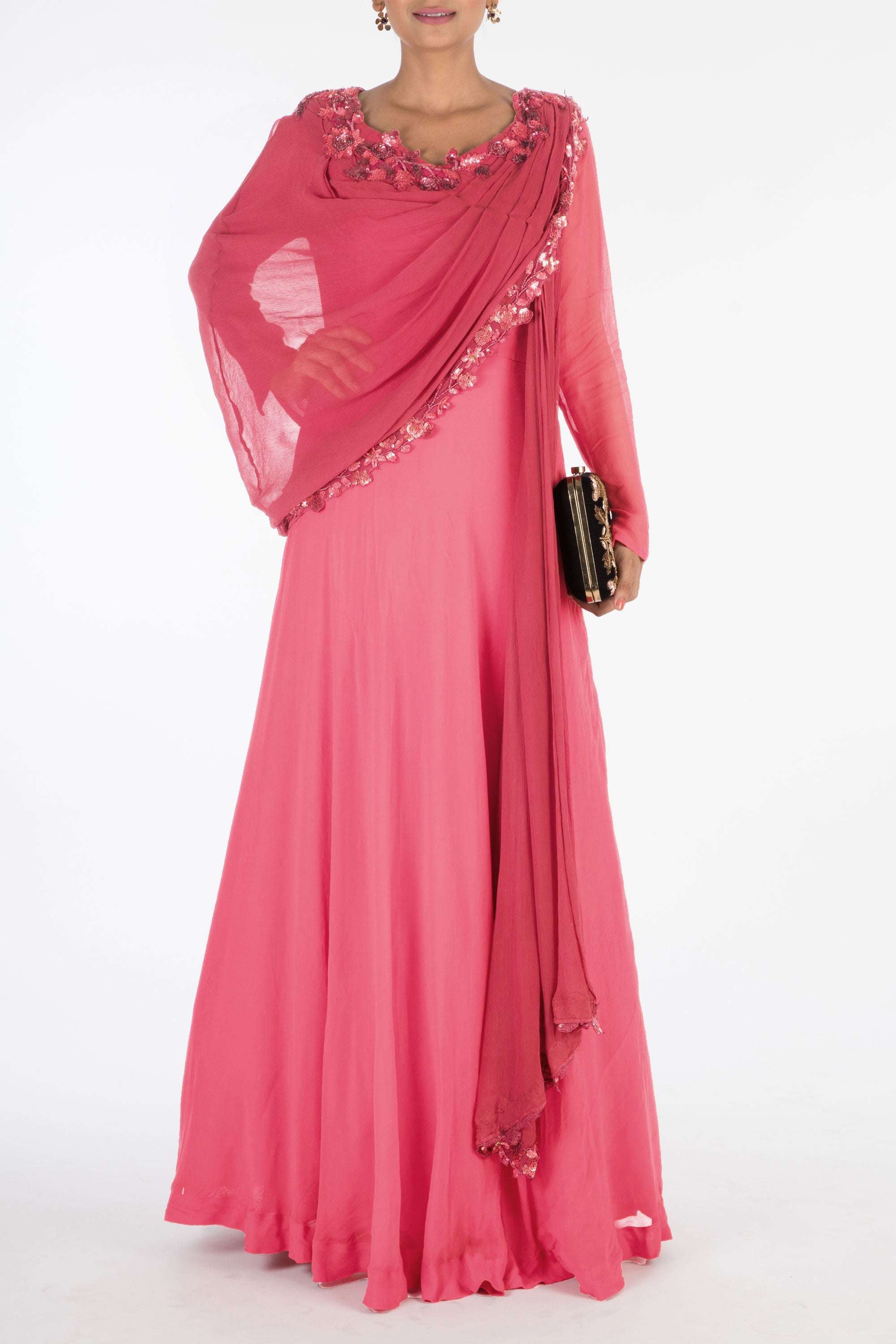 Hand Embroidered Sweet Pink Gown With Attached Dupatta Front
