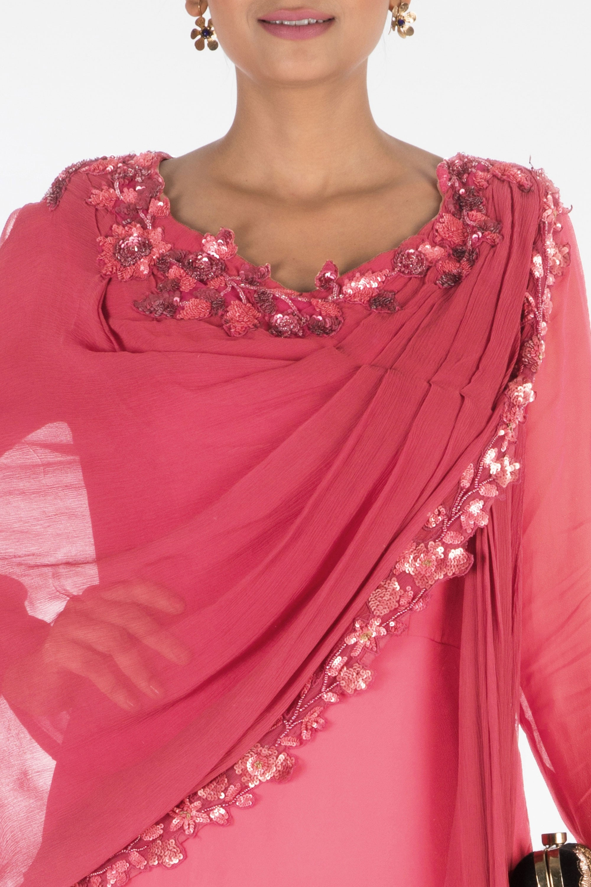 Hand Embroidered Sweet Pink Gown With Attached Dupatta