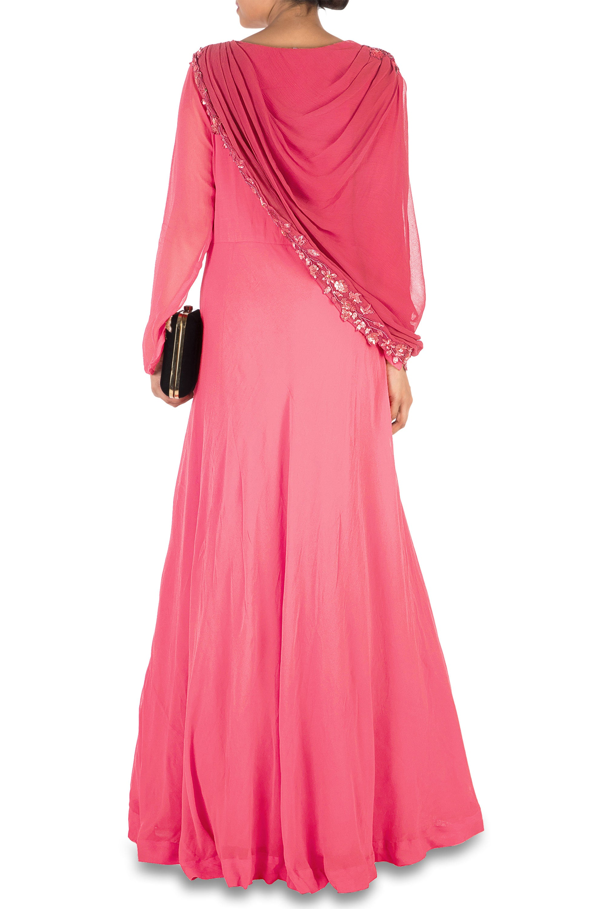 Hand Embroidered Sweet Pink Gown With Attached Dupatta Back