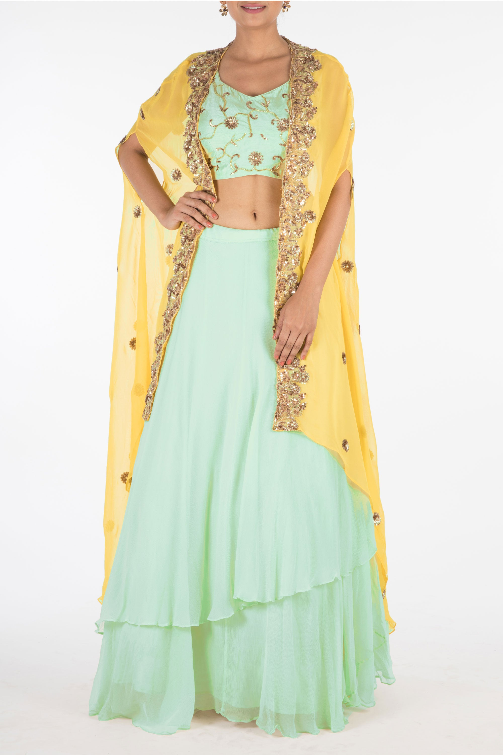Hand Embroidered Sea Green And Mustard Yellow Kaftan Jacket Lehenga Set Front