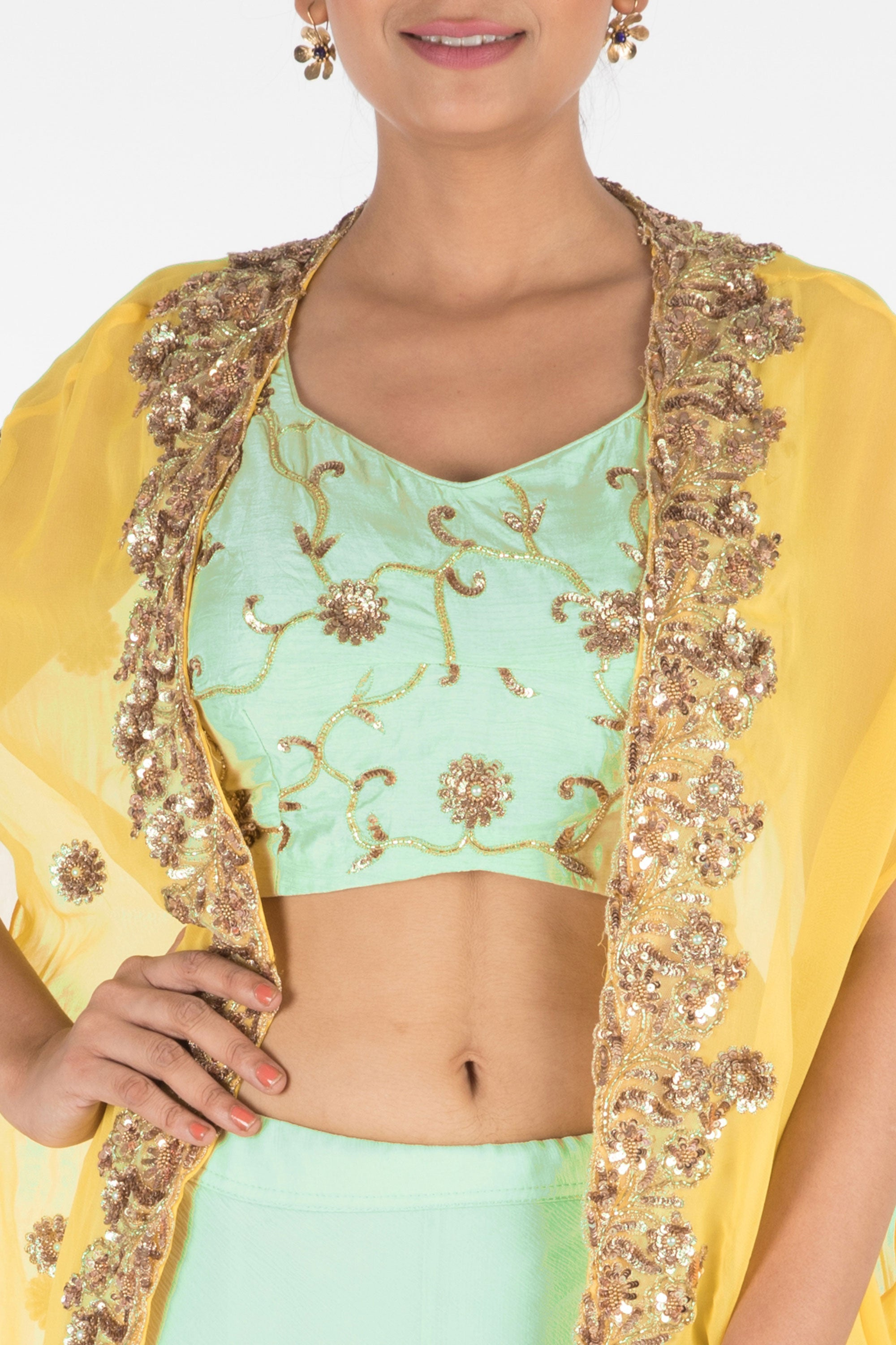 Hand Embroidered Sea Green And Mustard Yellow Kaftan Jacket Lehenga Set Closeup