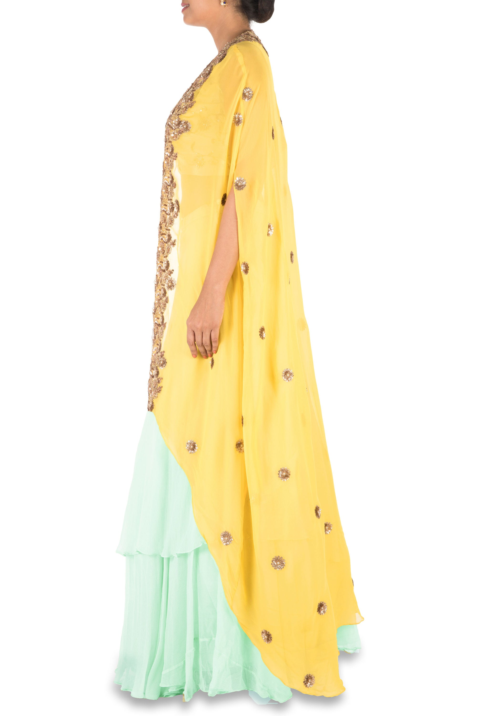Hand Embroidered Sea Green And Mustard Yellow Kaftan Jacket Lehenga Set Side