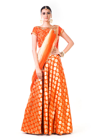 Orange Brocade Lehenga Front