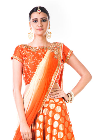 Orange Brocade Lehenga