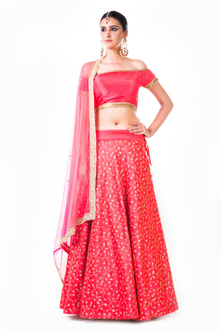 Tomato Peach Lehenga With An Off-Shoulder Silk Blouse Front