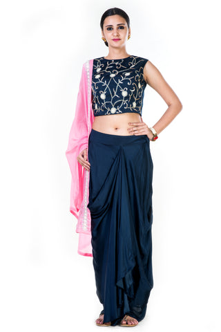 Hand Embroidered Navy Blue Crop Top & Draped Skirt With Pink Dupatta Front