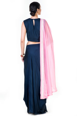 Hand Embroidered Navy Blue Crop Top & Draped Skirt With Pink Dupatta
