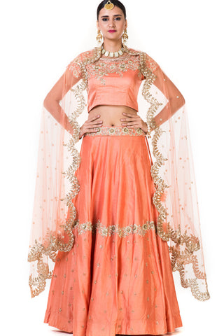 Peach Hand Embroidered Bridal Lehenga Front