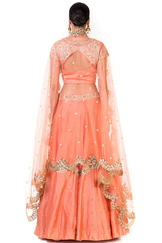 Peach Hand Embroidered Bridal Lehenga