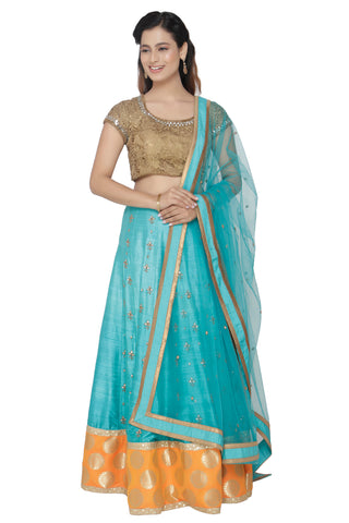 Turquoise  Lehenga Set With Gold Lacey Blouse FRONT