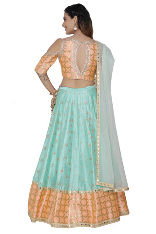 Sea Green Lehenga Set  With Cold Shoulder Peach Blouse
